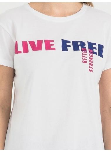 Loft Baskılı T-Shirt Beyaz